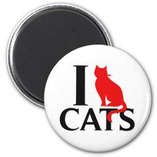 I Love Cats 6 Cm Round Magnet