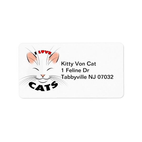 I love Cats Address Label