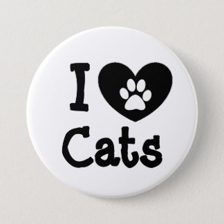 I Love Cats Black and White Button