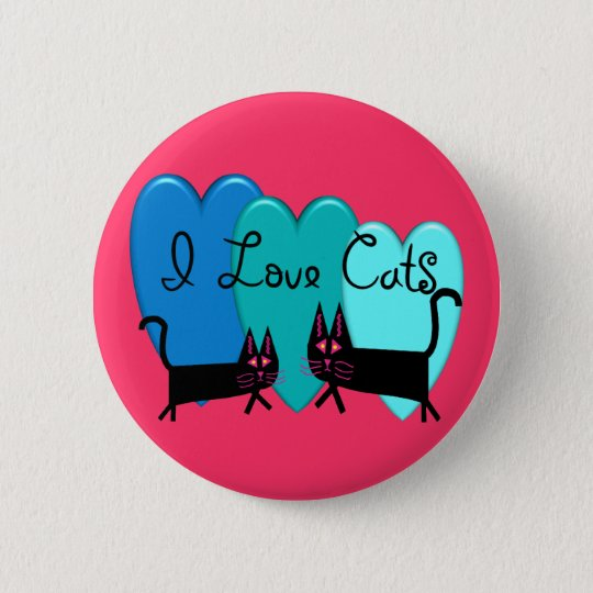 I love cats--Black Cat Art gifts 6 Cm Round Badge