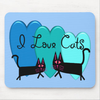 I love cats--Black Cat Art gifts Mouse Pad