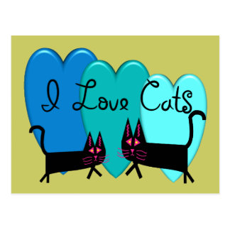I love cats--Black Cat Art gifts Post Cards