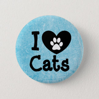 I Love Cats Blue, Black and White Button