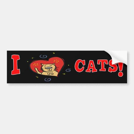 I Love Cats! Bumper Sticker
