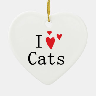 I Love Cats Christmas Ornament