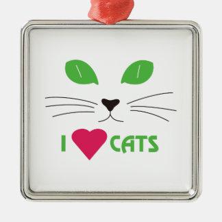 I Love Cats Square Metal Christmas Ornament