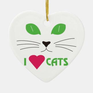 I Love Cats Double-Sided Heart Ceramic Christmas Ornament