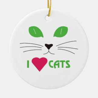 I Love Cats Double-Sided Ceramic Round Christmas Ornament