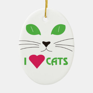 I Love Cats Double-Sided Oval Ceramic Christmas Ornament