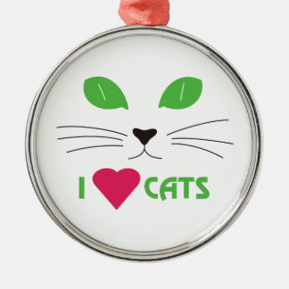 I Love Cats Round Metal Christmas Ornament