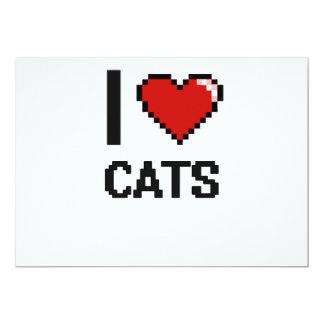 I love Cats Digital Design 13 Cm X 18 Cm Invitation Card