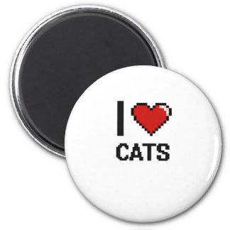 I love Cats Digital Design 2 Inch Round Magnet
