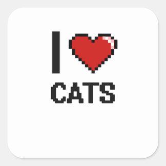 I love Cats Digital Design Square Sticker
