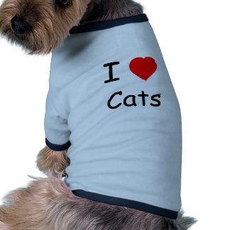 I love cats doggy t-shirt dog t shirt