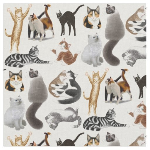 I Love Cats Feline Fabric