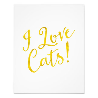 I Love Cats Gold Faux Foil Inspirational Metallic Photo Print