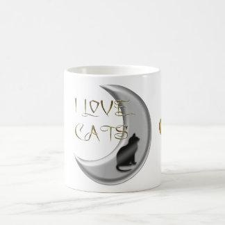 I Love Cats Silver Moon Classic White Coffee Mug