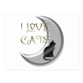 I Love Cats Silver Moon Postcard