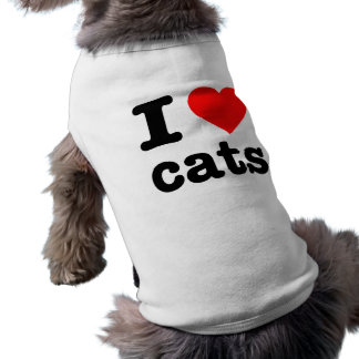 """I LOVE CATS"" SLEEVELESS DOG SHIRT"