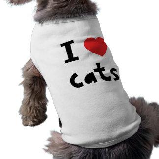 I love cats sleeveless dog shirt