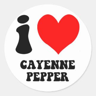 i love cayenne pepper round sticker