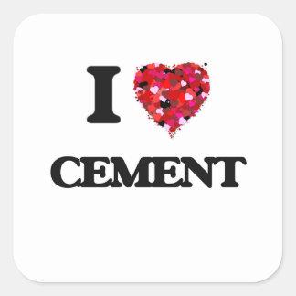 I love Cement Square Sticker