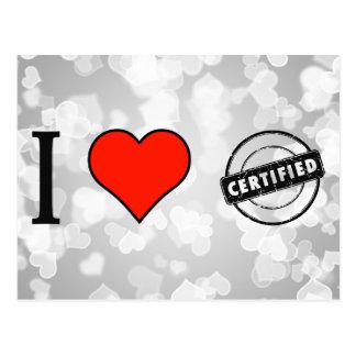 I Love Certified Stamp Postcard