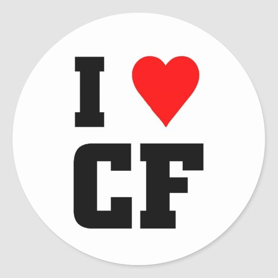 I love CF Classic Round Sticker