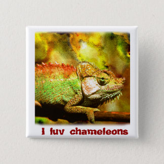 i love chameleons Digital art 15 Cm Square Badge