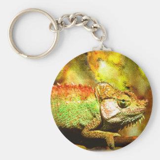 i love chameleons Digital art Key Ring