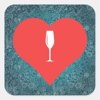 I Love Champagne Glasses Cool Icon Square Sticker