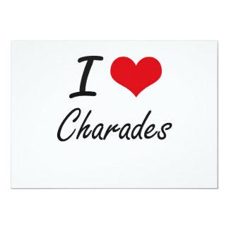 I love Charades Artistic Design 13 Cm X 18 Cm Invitation Card