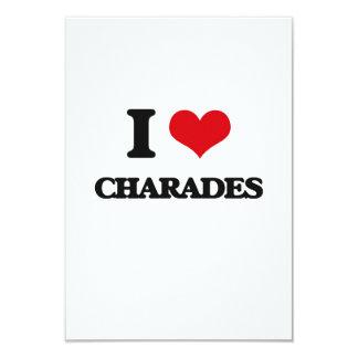 """I love Charades 3.5"""" X 5"""" Invitation Card"""