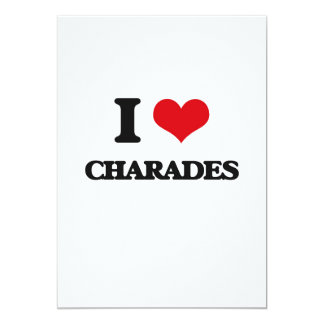 """I love Charades 5"""" X 7"""" Invitation Card"""