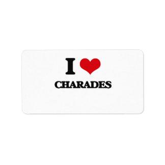 I love Charades Address Label