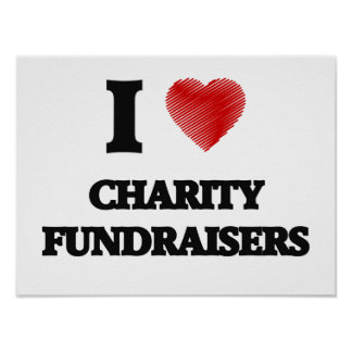 I love Charity Fundraisers (Heart made from words) Poster