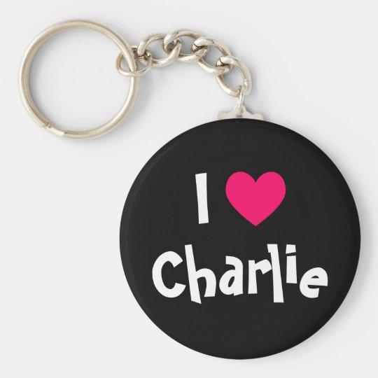 I Love Charlie Basic Round Button Key Ring