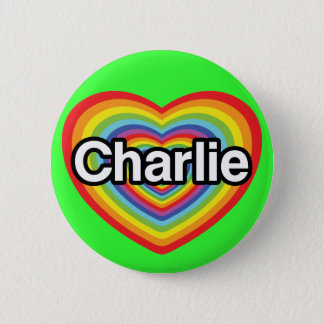 I love Charlie: rainbow heart 6 Cm Round Badge