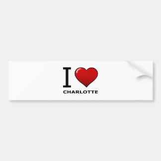 I LOVE CHARLOTTE,NC - NORTH CAROLINA BUMPER STICKER