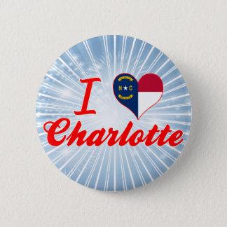 I Love Charlotte, North Carolina 6 Cm Round Badge