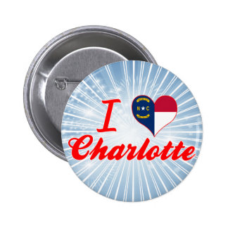 I Love Charlotte, North Carolina 6 Cm Round Badge
