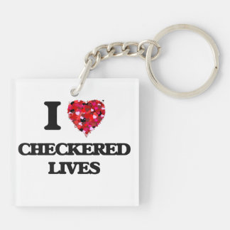 I love Checkered Lives Double-Sided Square Acrylic Key Ring