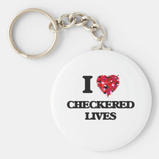 I love Checkered Lives Basic Round Button Key Ring