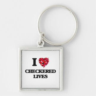 I love Checkered Lives Silver-Colored Square Key Ring