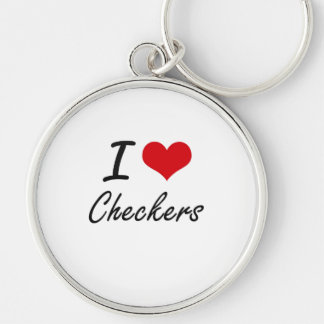 I love Checkers Artistic Design Silver-Colored Round Key Ring