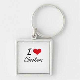 I love Checkers Artistic Design Silver-Colored Square Key Ring