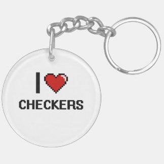 I Love Checkers Digital Retro Design Double-Sided Round Acrylic Keychain