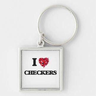 I love Checkers Silver-Colored Square Key Ring