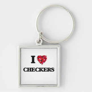 I love Checkers Silver-Colored Square Key Ring