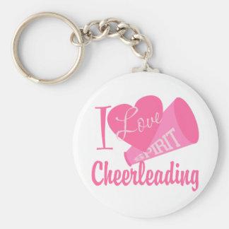 I Love Cheerleading Basic Round Button Key Ring